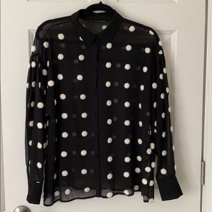 Zara Black and White Dot Sheer Button Down Shirt